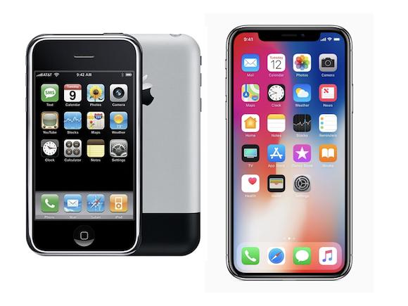 iPhone Xと初代iPhoneのディスプレイ領域を比較!