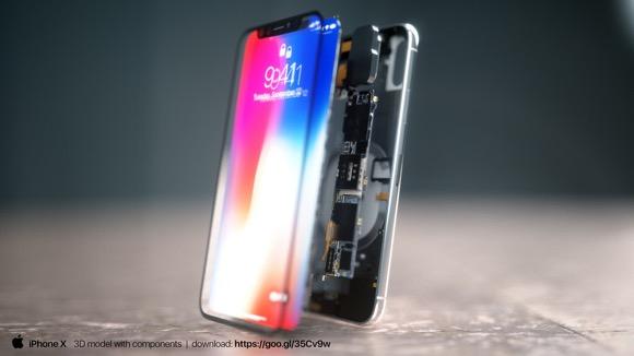 発売前のiPhone Xを分解?内部の3Dイメージ画像、デザイナーが公開